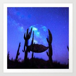 Blue Cactus Art Print