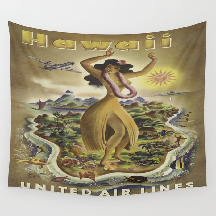 Vintage poster - Hawaii Wall Tapestry