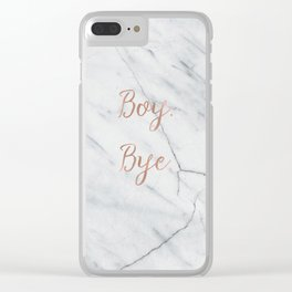Boy. Bye. Rose gold and marble Clear iPhone Case
