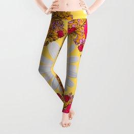 PINK ROSE & WHITE DAISIES YELLOW GARDEN ART Leggings