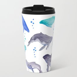 Diving humpback whales Travel Mug