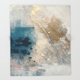 Embrace: a minimal, abstract mixed-media piece in blues and gold with a hint of pink Throw Blanket