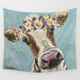 Flower Crown Cow Art, Cute Cow With Flower Crown Wall Tapestry