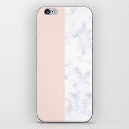 Elegant blush pink & white marble color block iPhone Skin