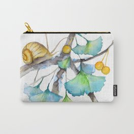 Ginkgo and A Snail Carry-All Pouch