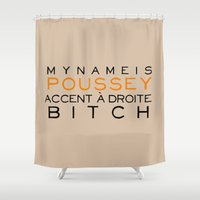 oitnb Shower Curtains featuring Accent à Droit - Orange is the New Black by kirstenariel