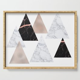 Marble rose gold geometric triangles Serving Tray