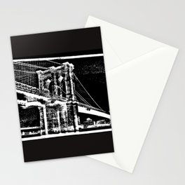 Sketched Brooklyn Bridge White on Black Stationery Cards