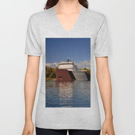 Roger Blough freighter in the Fall Unisex V-Neck