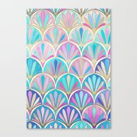 deco Canvas Prints featuring Glamorous Twenties Art Deco Pastel Pattern by micklyn