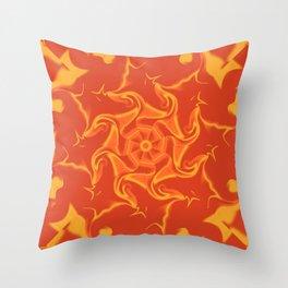 Red Orange and Yellow Kaleidoscope 3 Throw Pillow
