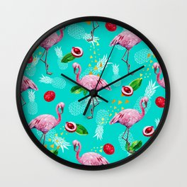 Tropical fruits among flamingos Wall Clock