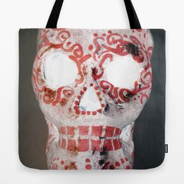Red and White Sugar Skull Tote Bag