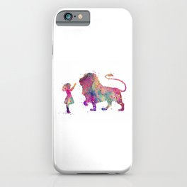 Girl and Lion Colorful Watercolor Art Animals Lover Gift iPhone Case