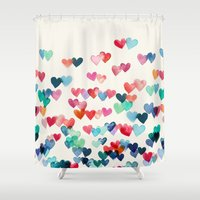 aqua Shower Curtains featuring Heart Connections - watercolor painting by micklyn