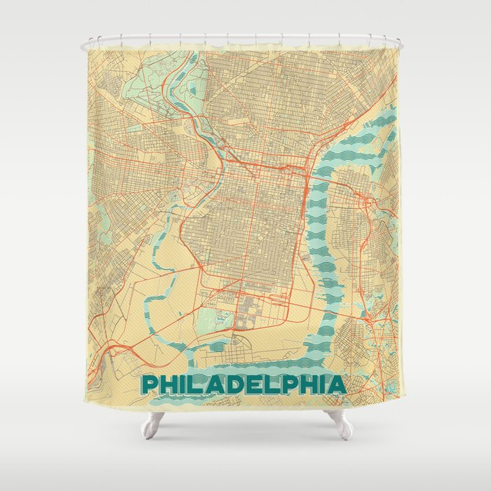 Philadelphia Map Retro Shower Curtain By Hubertroguski