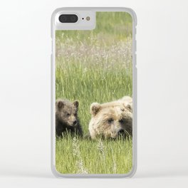 Young Brown Bear Cub and Its Mother, No. 1 Clear iPhone Case
