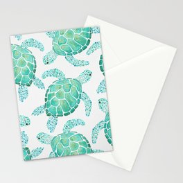 Sea Turtle Pattern - Blue Stationery Cards