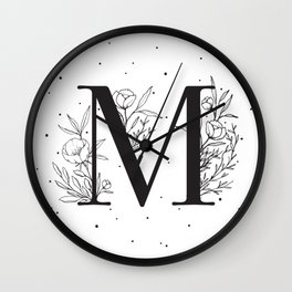 Black Letter M Monogram / Initial Botanical Illustration Wall Clock