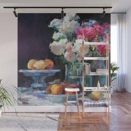 Still Life with White & Pink Roses Wall Mural