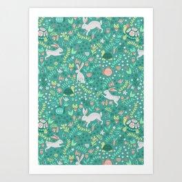 Spring Pattern of Bunnies with Turtles Kunstdrucke