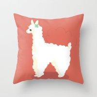 alpaca Throw Pillows featuring Alpaca by Laura Gómez