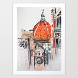 Florence Italy illustration, Firenze duomo Art Print