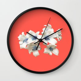 Blue Heart Lilies on Living Coral Wall Clock