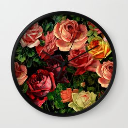 Vintage & Shabby chic - floral roses flowers rose Wall Clock