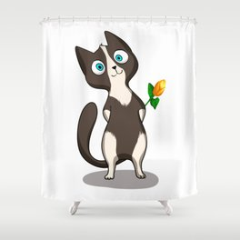 Tuxedo cat with flower Shower Curtain