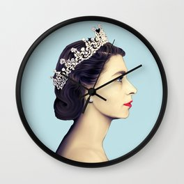 QUEEN ELIZABETH II - THE YOUNG QUEEN IN PROFILE Wall Clock