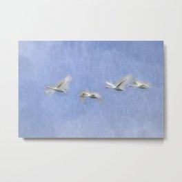 Swans Flying Art Metal Print