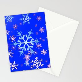 DECORATIVE BLUE  & WHITE SNOWFLAKES PATTERNED ART Stationery Cards