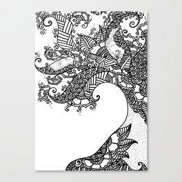 Zen Tree Rebirth White Left Half Canvas Print
