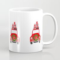 craftberrybush Mugs featuring Red Christmas Car - white  by craftberrybush