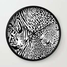 Tiger and Leopard and pattern background Wall Clock