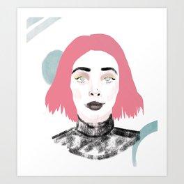 Pink Haired Dream Girl Art Print