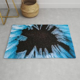 Ice Cave // Starry Night Sky Long Exposure Beautiful Blue Crystal Icicle Rug