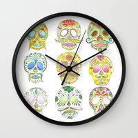 sugar skulls Wall Clocks featuring Sugar Skulls  by Stephanie Eve