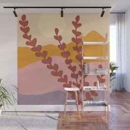 Mountain View - Earthy Muted Abstract Landscape Wall Mural