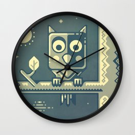 Night owl graphic design Wall Clock