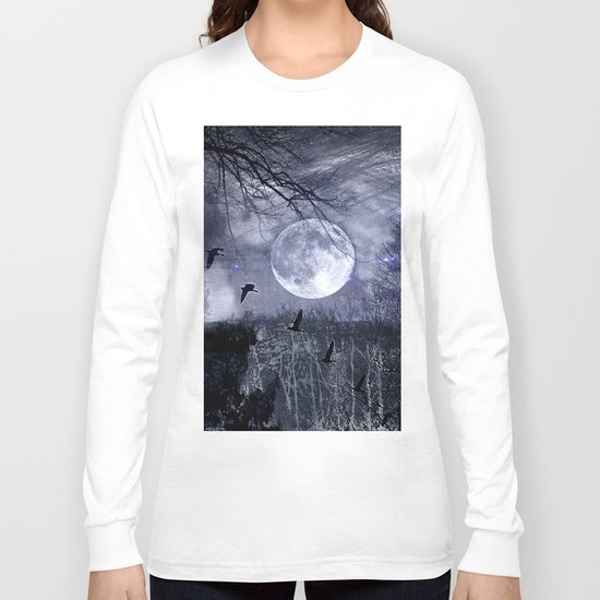 full moon in the woods Long Sleeve T-shirt