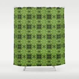 Greenery Floral Geometric Shower Curtain
