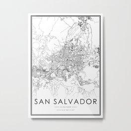 San Salvador City Map El Salvador White and Black Metal Print