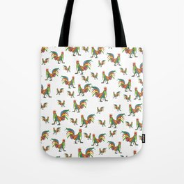 Punky Rooster on White background Tote Bag