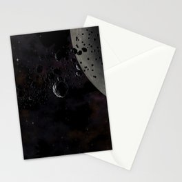 Rocks and ice particles orbiting around dead planet. Outer Space, Cosmic Art and Science Fiction Con Stationery Cards