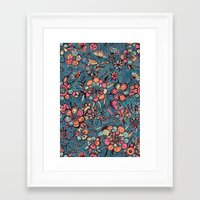spring Framed Art Prints featuring Sweet Spring Floral - melon pink, butterscotch & teal by micklyn