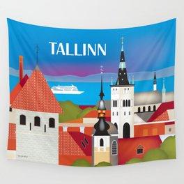 Tallinn, Estonia - Skyline Illustration by Loose Petals Wall Tapestry