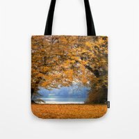 denmark Tote Bags featuring Autumn in Denmark by by Henrik Wulff Petersen (zoomphoto)