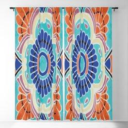 Aqua Tile Mexican Talavera Blackout Curtain